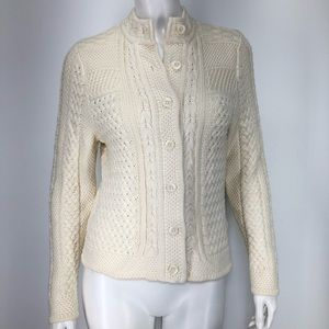 LL Bean XS P Cardigan Sweater Cream Cable Knit